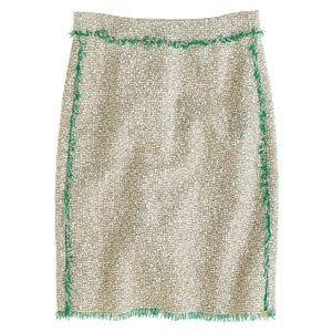 J Crew Cream Glitter Tweed Mini Skirt